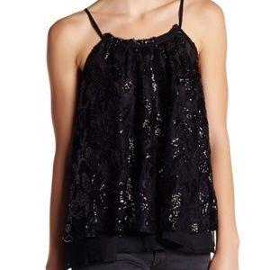 En Creme Strappy Black Sleeveless Sequin Top